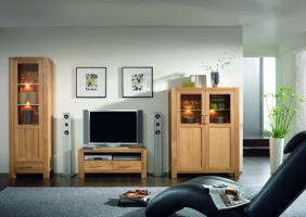 Wohnwand Wohnzimmerwand Highboard Vitrine TV Board Eiche ...