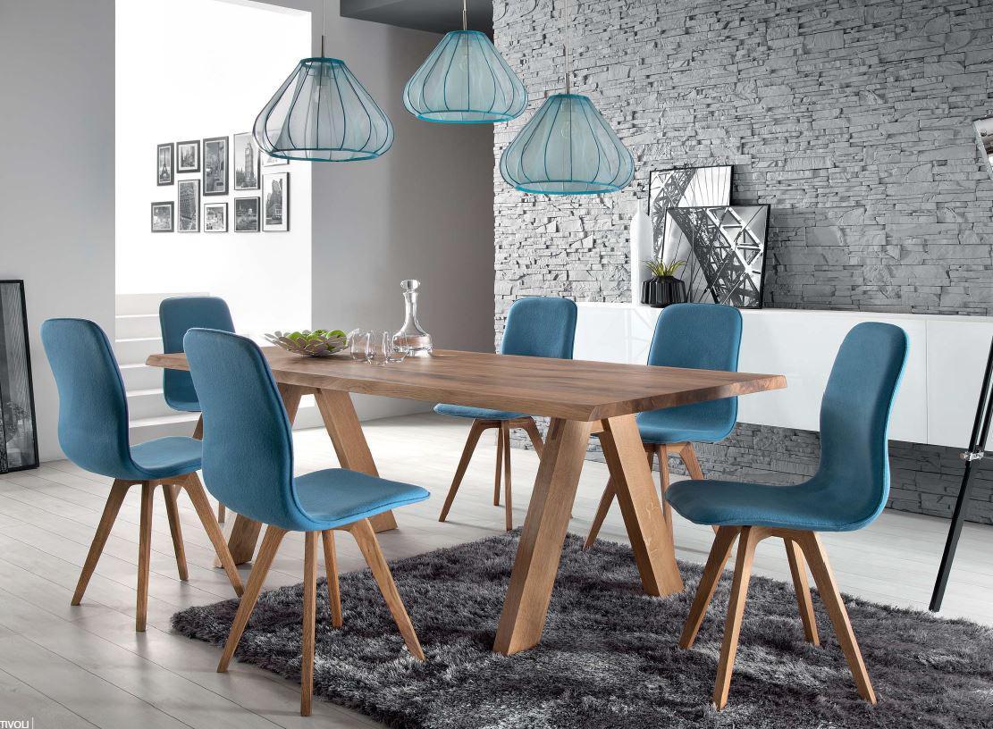 Schalenstuhl Stuhl Esszimmer modern blau Eiche massiv hellblau Samtig  Kaufen bei SakuSystem
