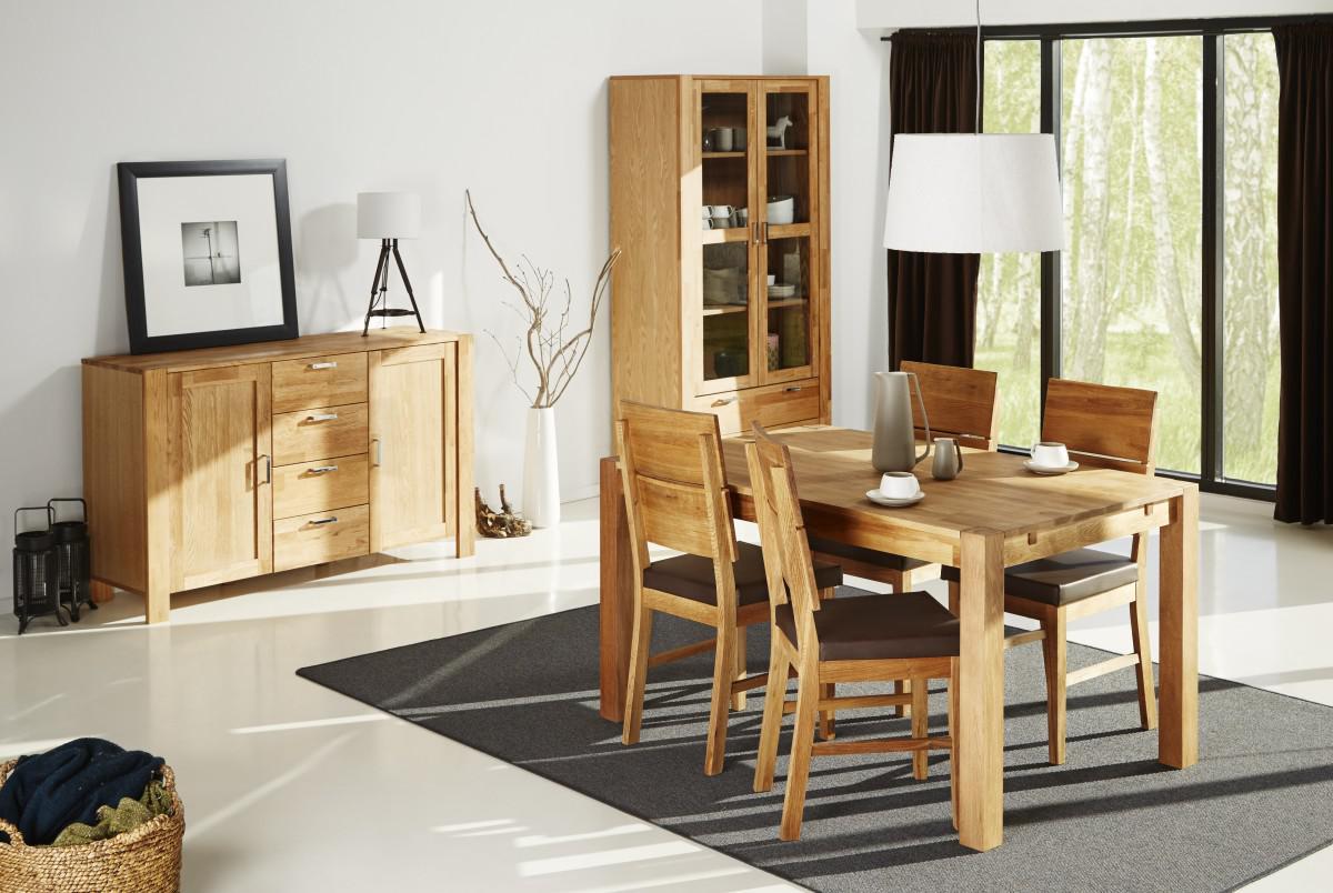 Esszimmer Set Einrichtung Eiche teilmassiv Tisch  4 Sthle Schrank Sideboard  Kaufen bei Saku