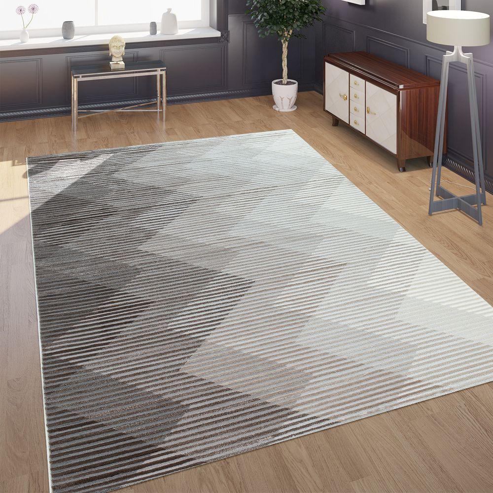 Teppich Creme Grau Designer Teppich Wohnzimmer Teppiche Kurzflor