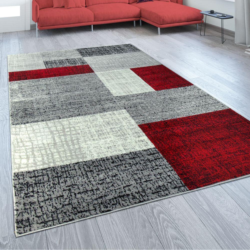 Designer Wohnzimmer Teppich Modern Kurzflor Karo Design Rot Grau Wei  Kaufen bei Diva Teppich