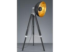 RETRO Scheinwerfer Stehlampe schwarz/gold mit LED ...