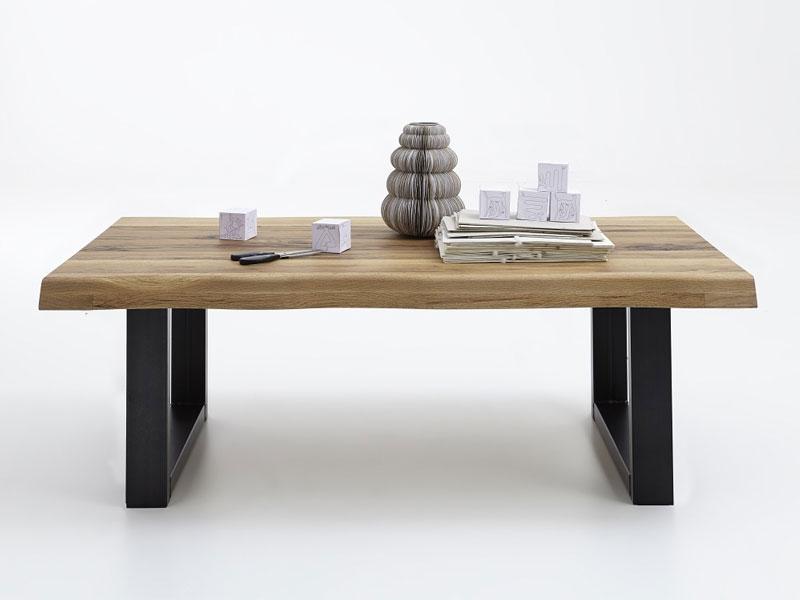 Bodahl Nature Couchtisch rustic oak mit UBeinen und Baumkante Massivholz Tisch fr Wohnzimmer