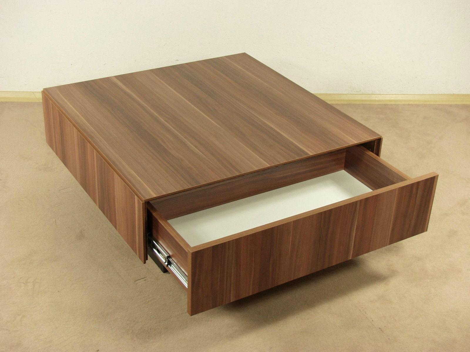 Couchtisch kernnuss Tisch Wohnzimmertisch Sofatisch Schubkasten design modern  Kaufen bei go