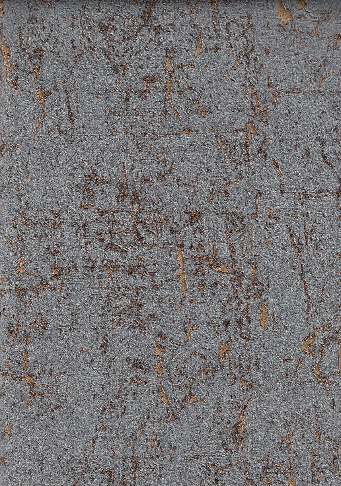 Vlies Tapete Kork Beton Optik Tapete grau gold metallic