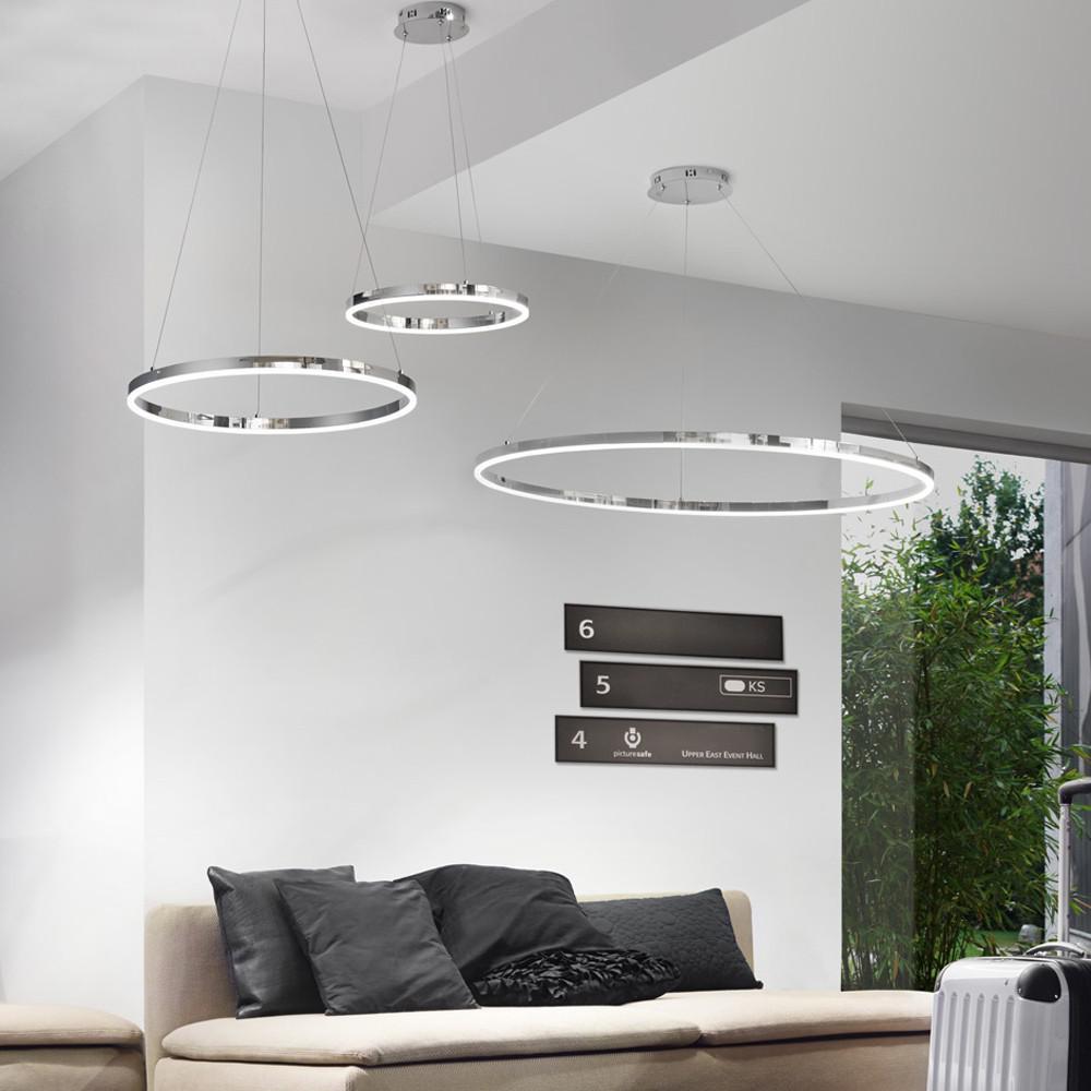 Ring M  LEDHngeleuchte  60 cm  Chrom Wohnzimmer