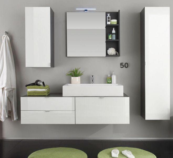 Badezimmerschrank Grau Hochglanz