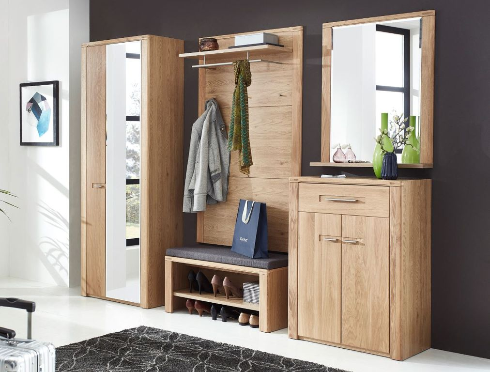 Garderobe Wildeiche Nature Two Bank Sitzbank Garderobe Wildeiche Bianco ...