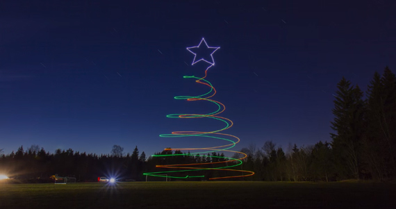 Christmas Light Painting Photography Using a Drone