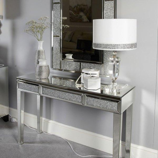Diamond Glitz Mirrored Console Dressing Table