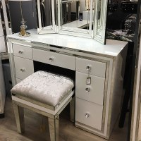 Madison White Glass 7 Drawer Mirrored Dressing Table ...
