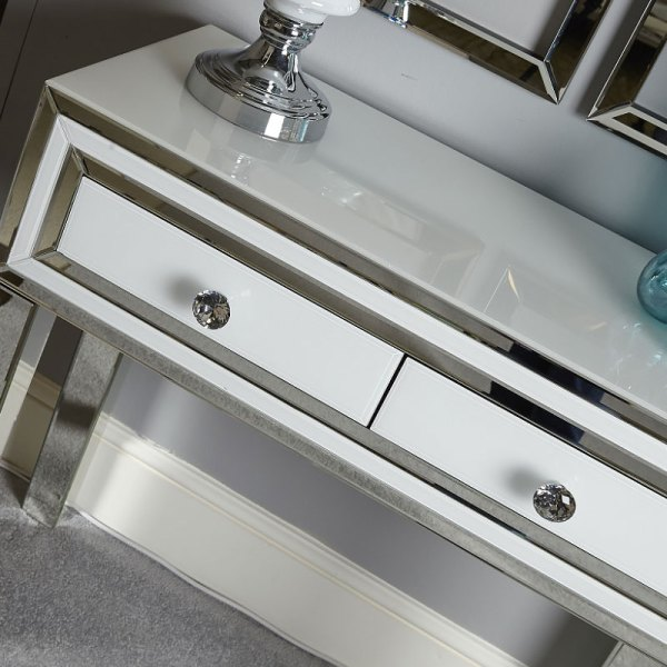 Madison White Glass Mirrored 2 Drawer Bedroom Console - Year of ...