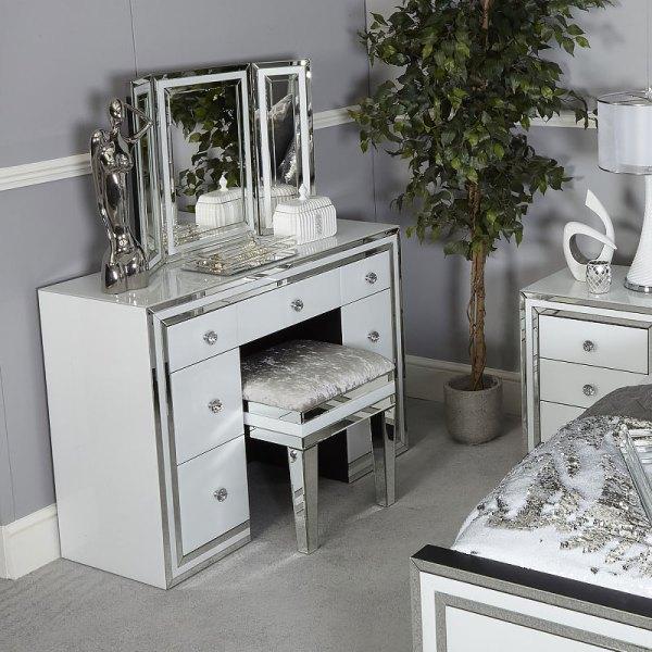 Madison White Glass Freestanding Vanity Dressing Table Tri