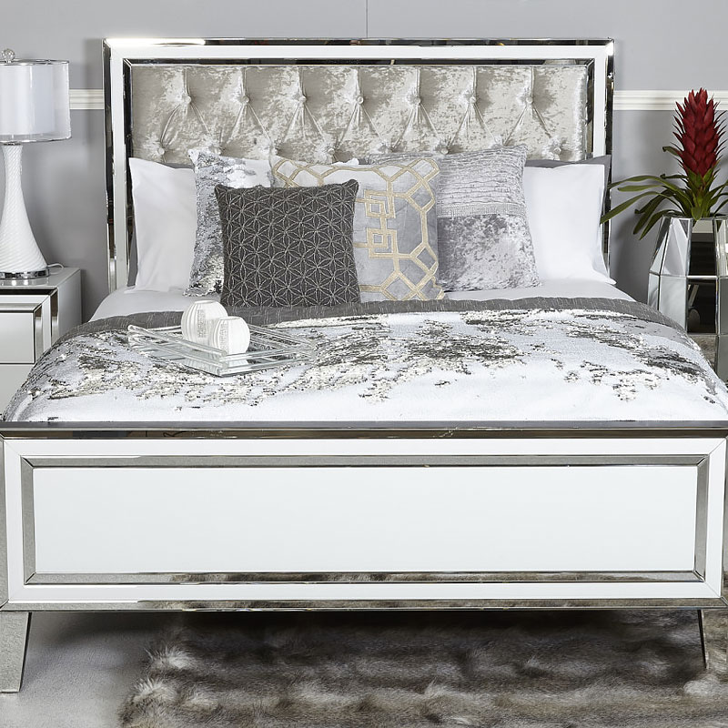Madison White Mirrored King Size Bed Frame  Picture Perfect Home