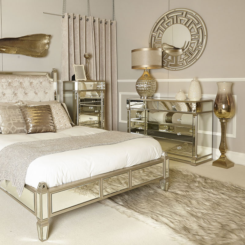 Athens Gold Mirrored 5 Drawer Chest Picture Perfect Home