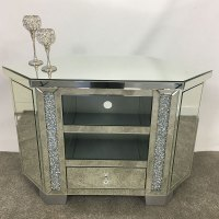 Diamond Crush Tall Mirrored Corner TV Cabinet | Picture ...