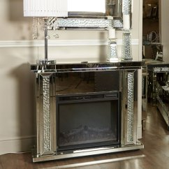 Mirrored Cabinets Living Room Maroon And Brown Floating Crystal Electric Fireplace | Picture ...