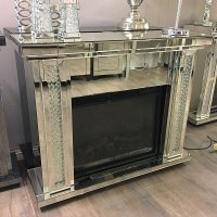 Floating Crystal Mirrored Electric Fireplace | Picture ...