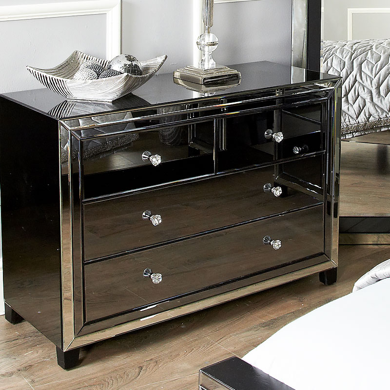 Large Arctic Noir Black Smoked Glass Mirrored 4 Drawer