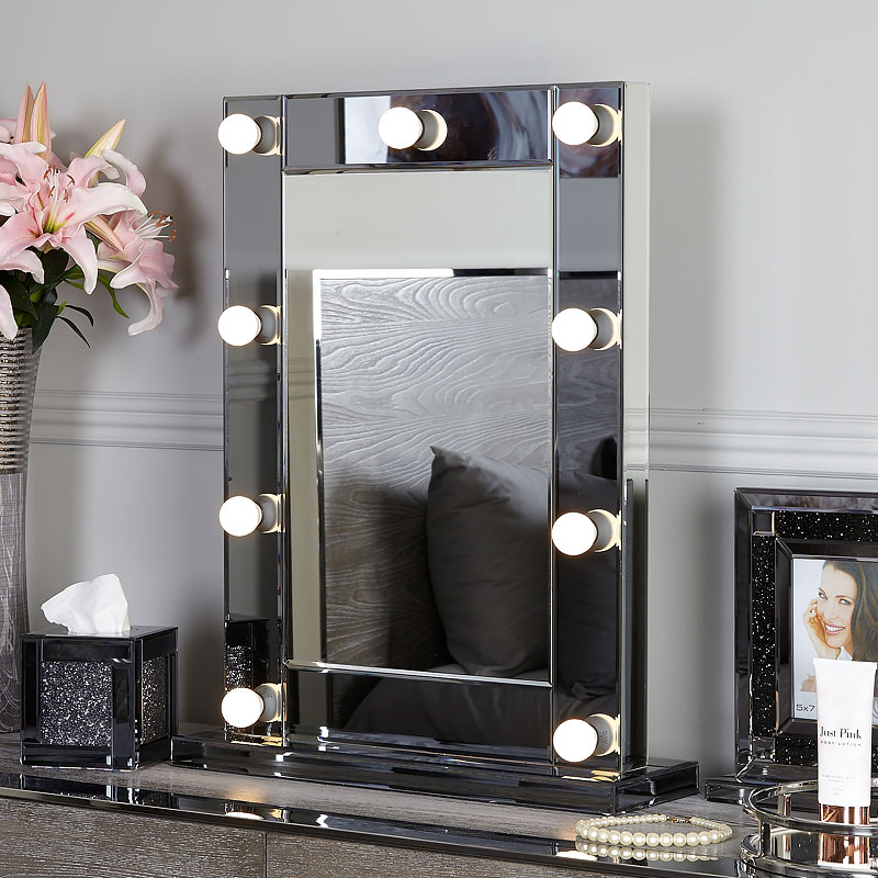 Smoked Glass Dressing Table Mirror With 9 Dimmable LED Light Bulbs  Picture Perfect Home