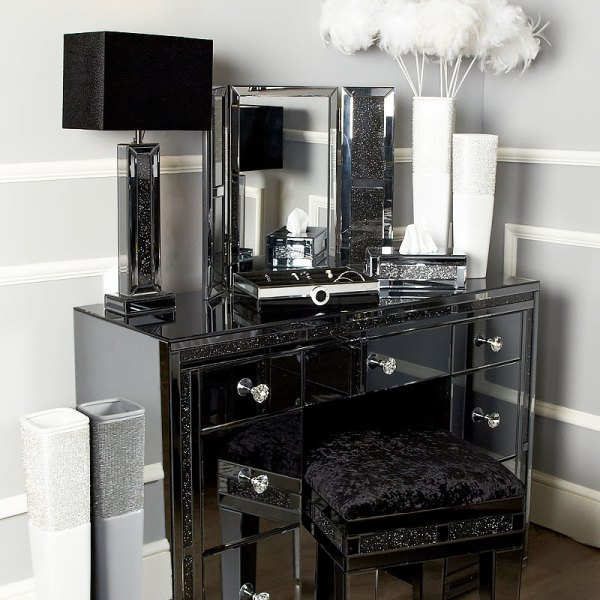 Diamond Glitz Noir Smoked Mirrored Vanity Dressing Table