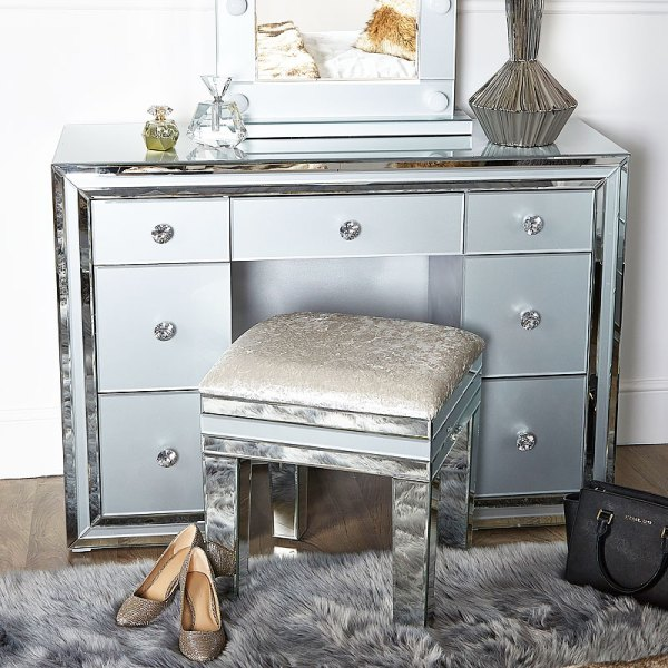Madison Grey Glass 7 Drawer Mirrored Dressing Table