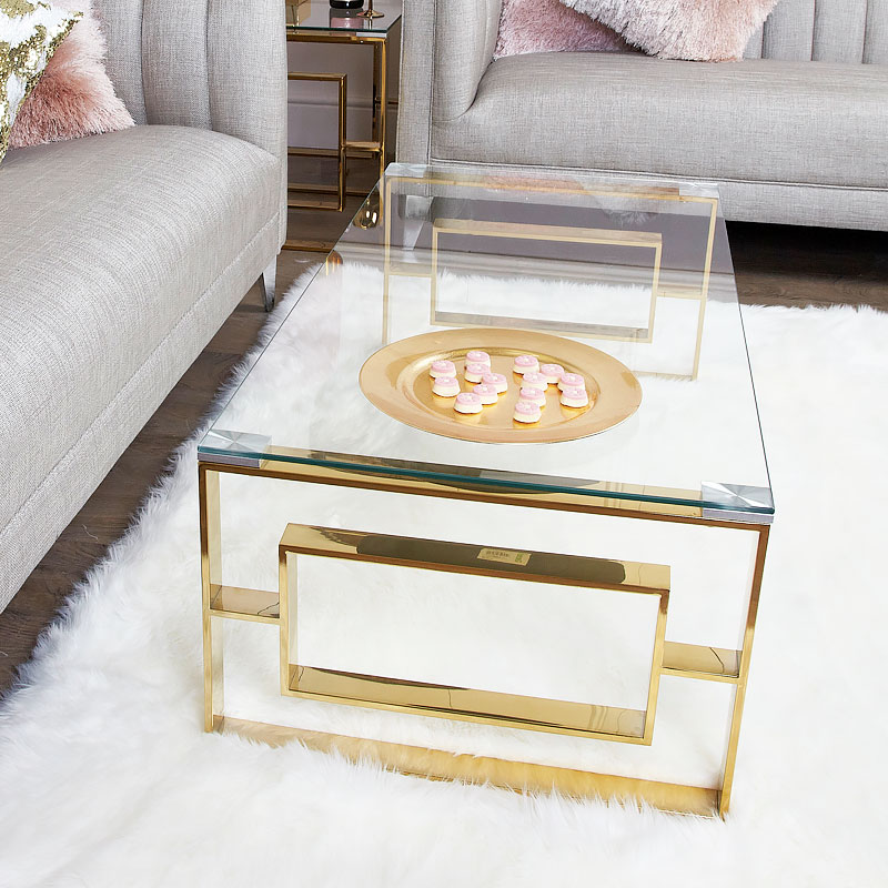 plaza gold contemporary clear glass lounge coffee table