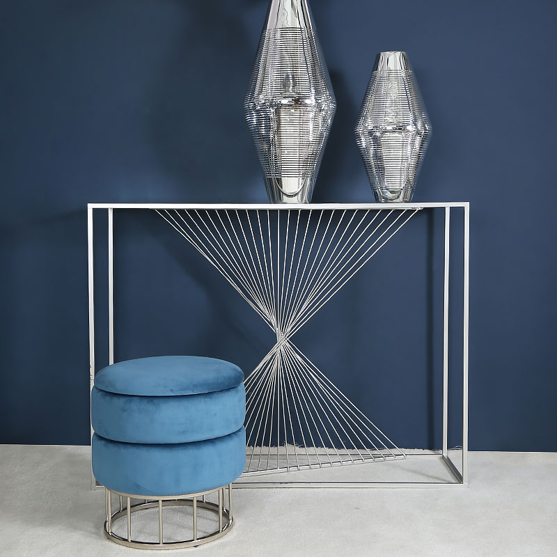 ava silver metal and clear glass console table with unique design