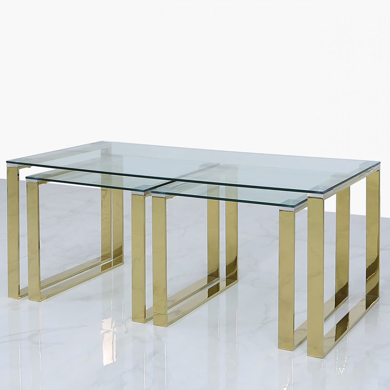 set of 1 harper gold and clear glass coffee table and 2 end tables