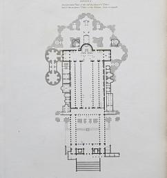 1818 architecture rome st peter s basilica plan antique print rees [ 1196 x 1500 Pixel ]