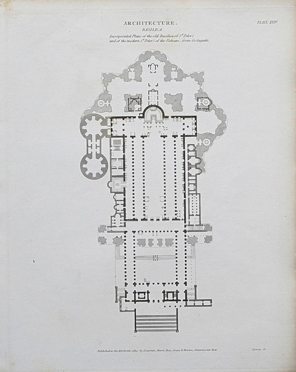 medium resolution of 1818 architecture rome st peter s basilica plan antique print rees