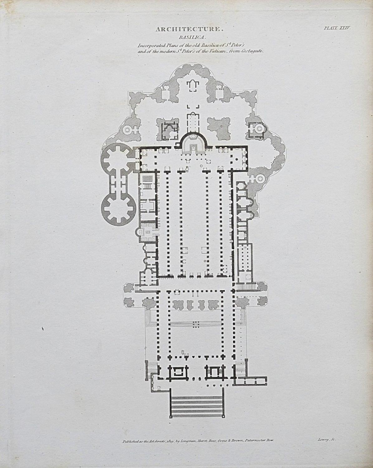 hight resolution of 1818 architecture rome st peter s basilica plan antique print rees