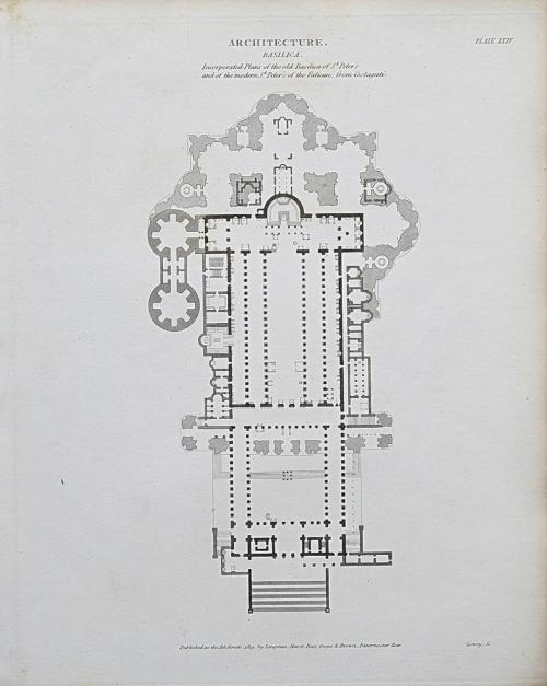 small resolution of 1818 architecture rome st peter s basilica plan antique print rees