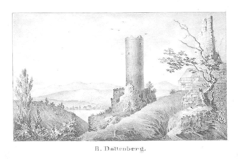 Ruine Dattenberg ('R. Dattenberg.'). by DATTENBERG b. Linz
