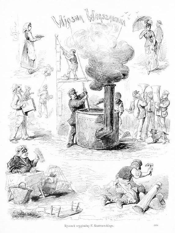 WIOSNA WARSZAWSKA. Rysunek oryginalny F. Kostrzewskiego