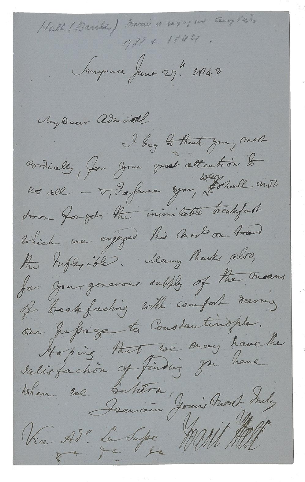 Autograph letter, signed, to Aaron Louis Frédéric Regnault