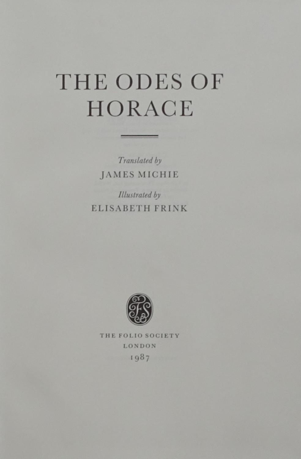 The Odes of Horace by Horace. Translated by James Michie