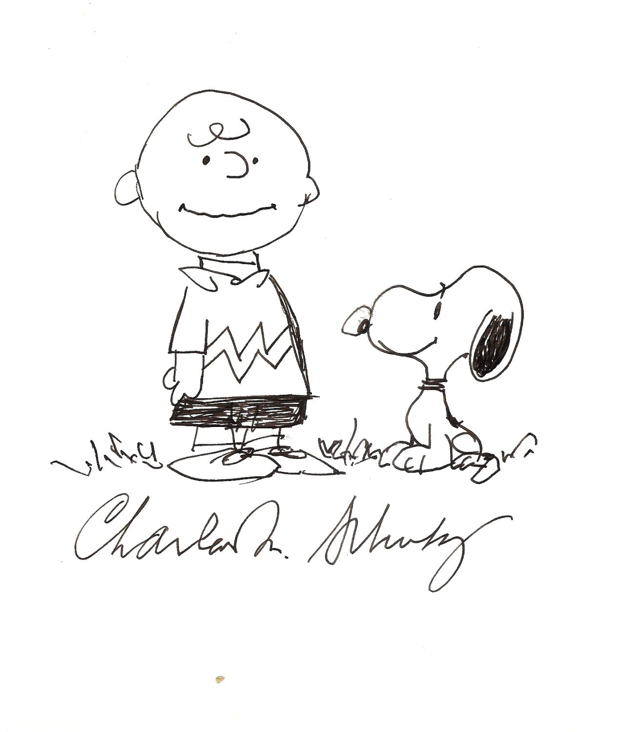 original ink drawing of Charlie Brown and Snoopy, signed