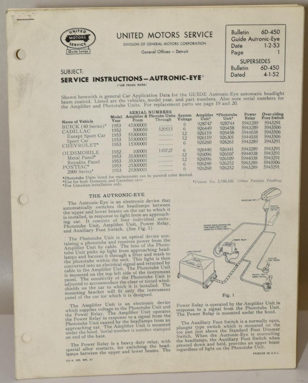 medium resolution of 1953 12 volt autronic eye circuit diagram 1952 53 6 volt 1953 12 volt