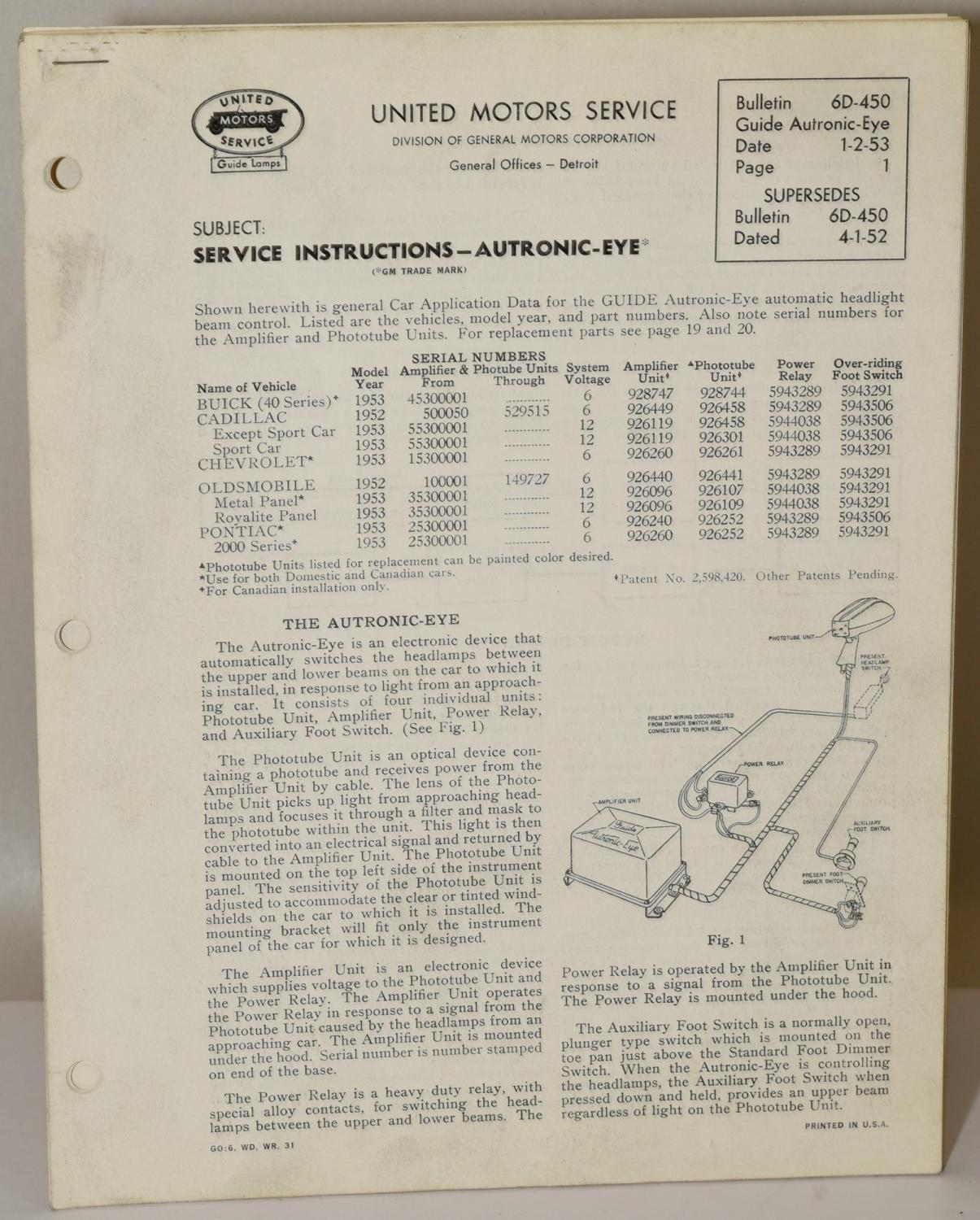 hight resolution of 1953 12 volt autronic eye circuit diagram 1952 53 6 volt 1953 12 volt