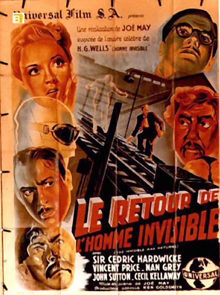 Le Retour De L'homme Invisible : retour, l'homme, invisible, INVISIBLE, RETURNS, MOVIE, POSTER/RETOUR, L?HOMME, INVISIBLE,, LE/POSTER, ViaLibri