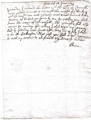Unsigned Autograph Letter to 'My Dearest brother', the