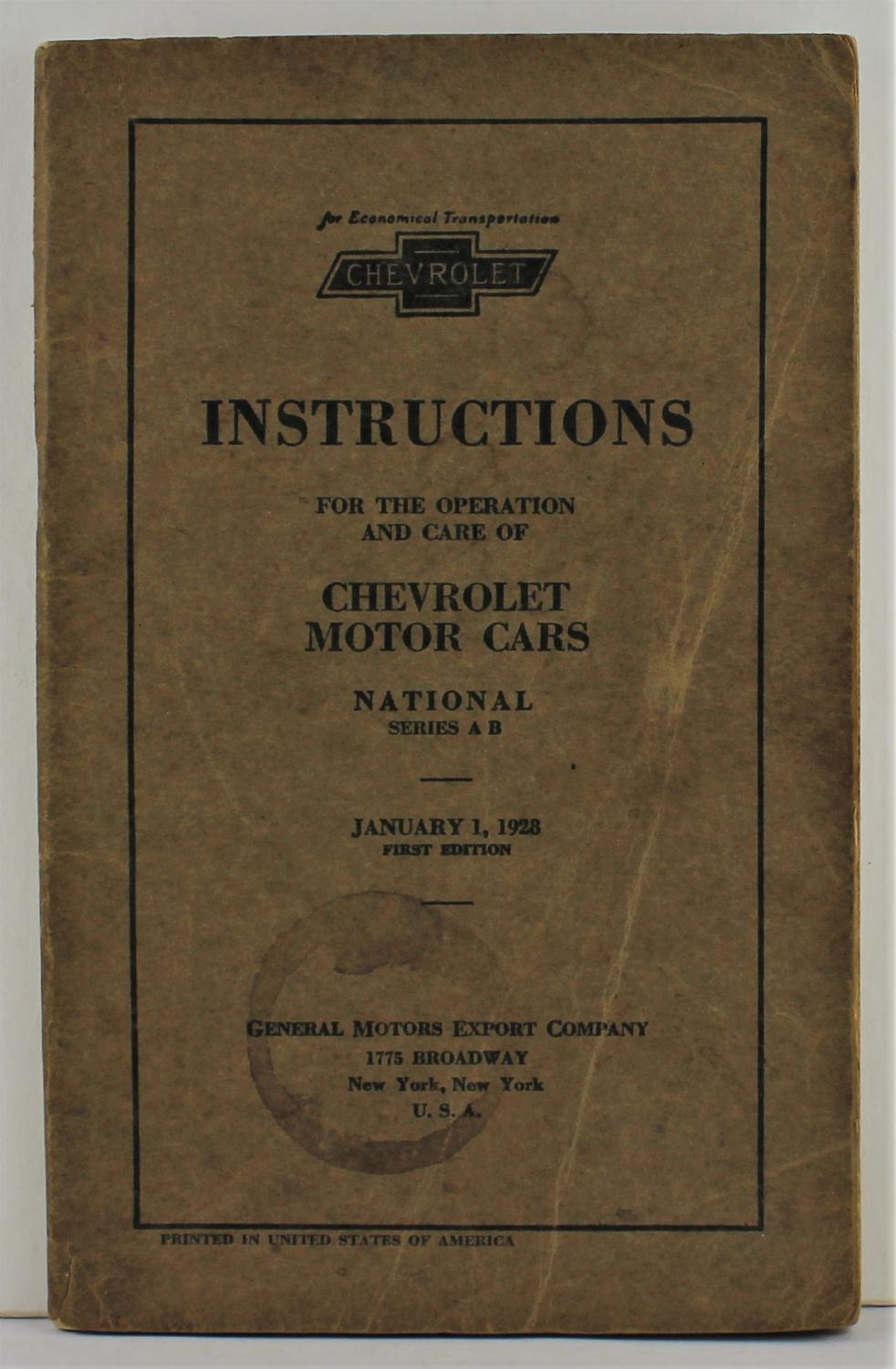 Wiring Diagram For 1927 Chevrolet Capitol Cars Series Aa