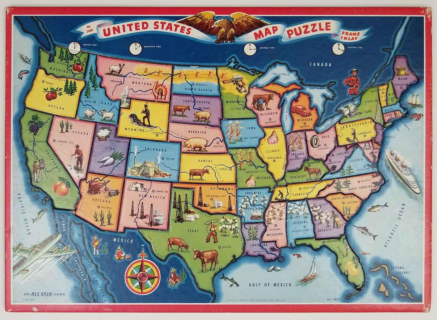 United States Map Puzzle Frame Inlay By United States