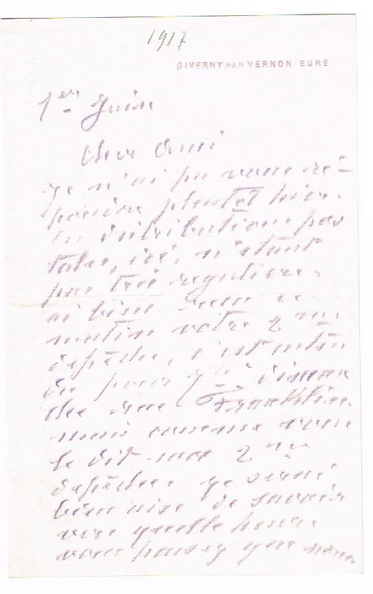Autograph letter signed. by Monet, Claude, French painter