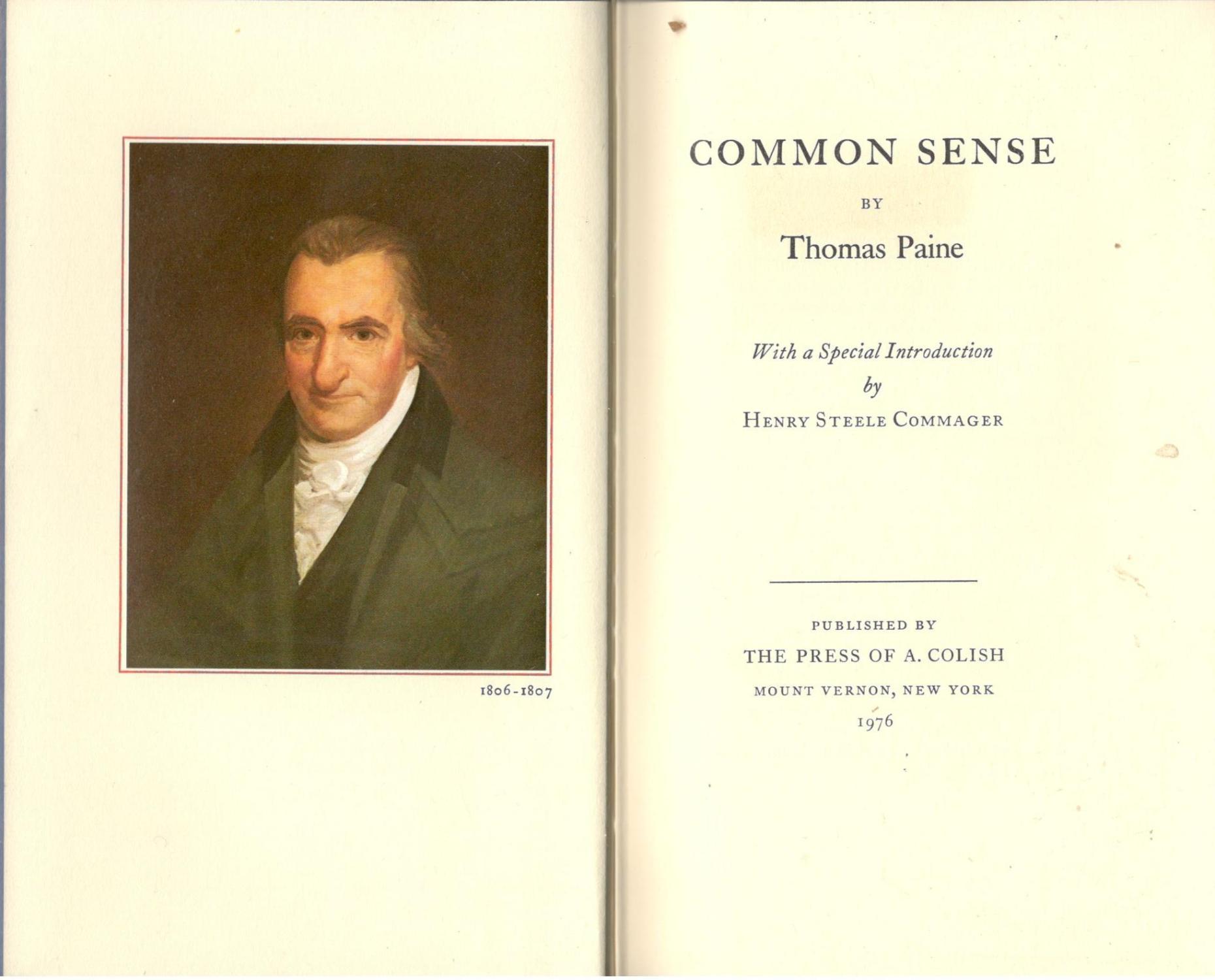 Common Sense By Thomas Paine The Press Oif A Colish