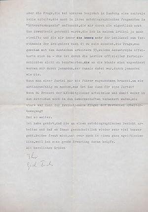 Maschinenschriftlicher Brief mit eigenhändiger