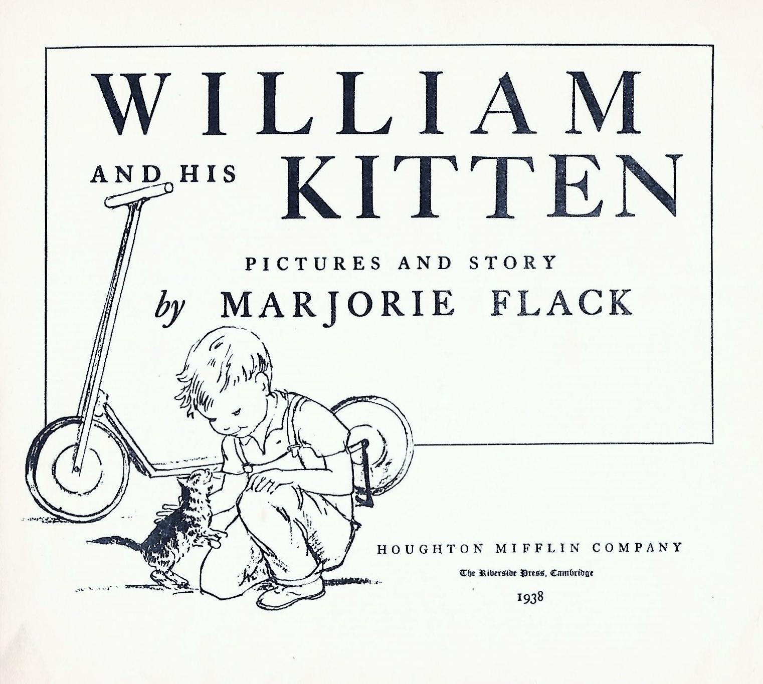 William and His Kitten by Flack, Marjorie: Houghton