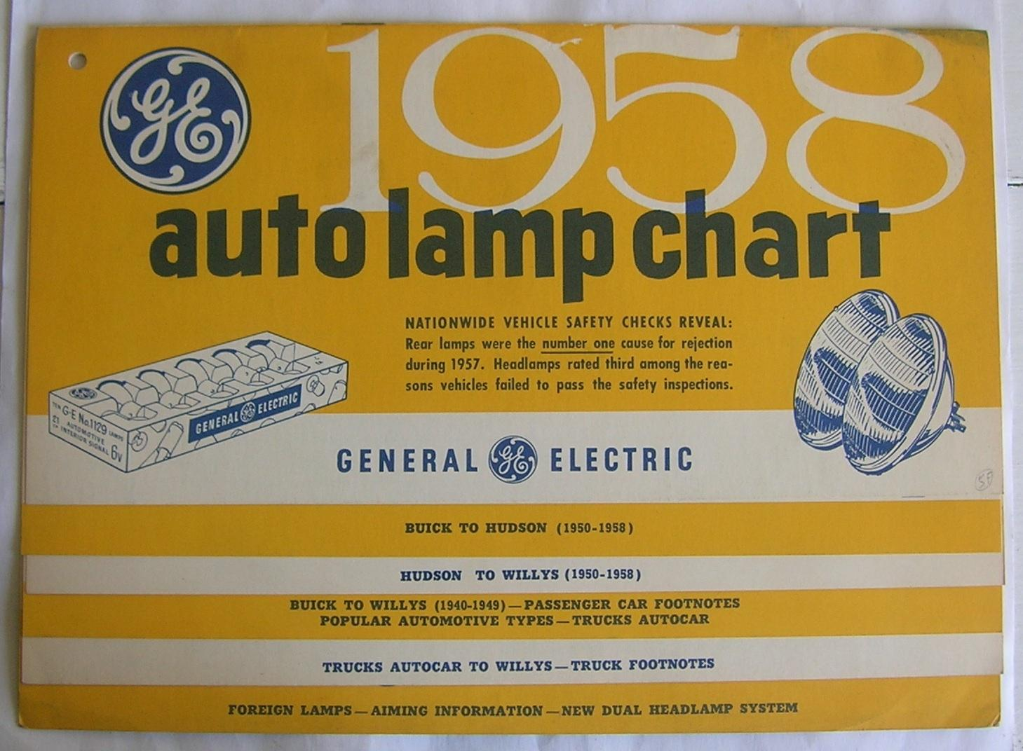 hight resolution of ge 1958 auto lamp chart general electric