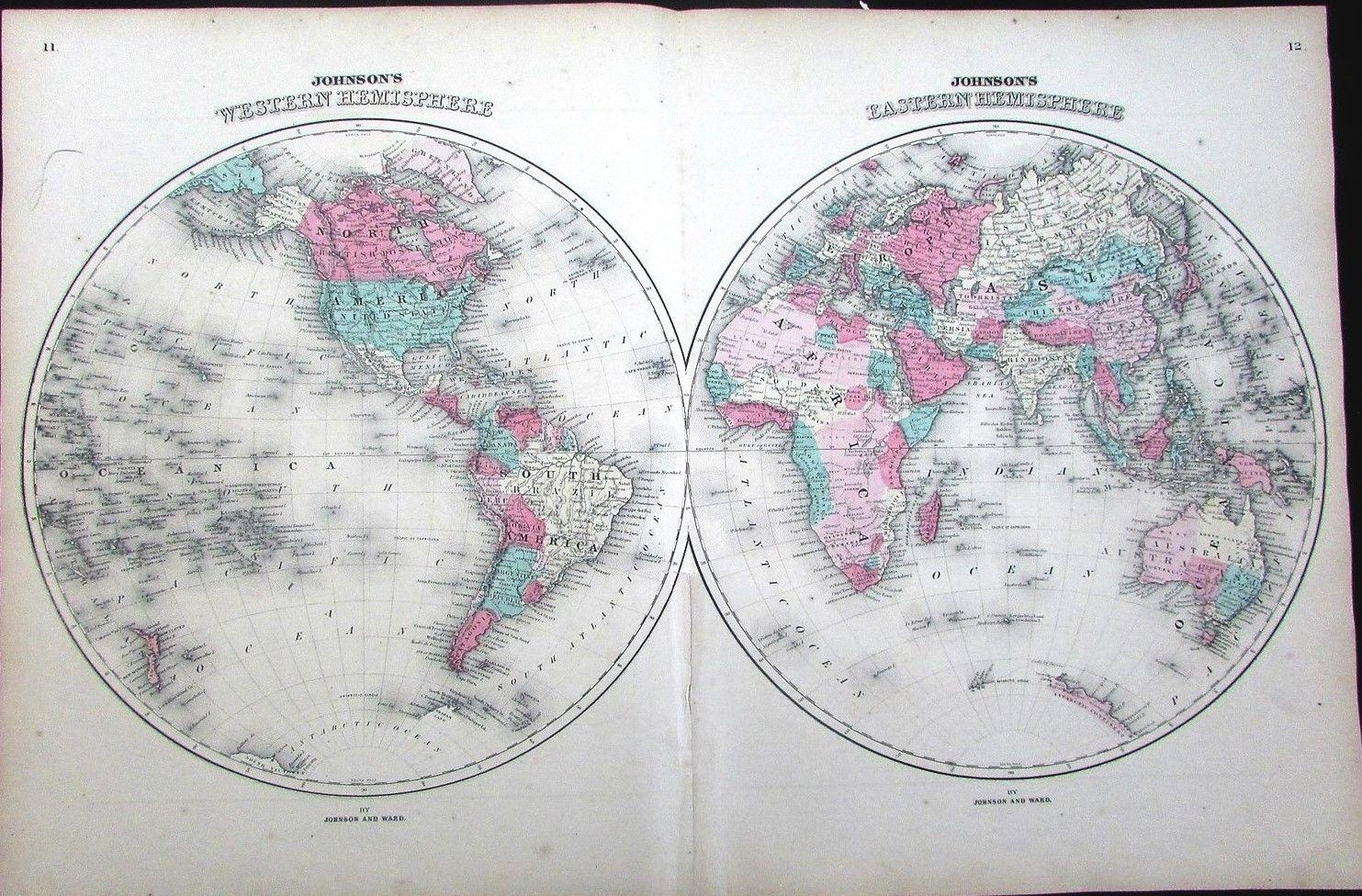 World Map Eastern Western Hemisphere Continents C Mts